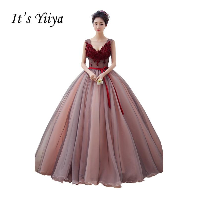 It's Yiiya New V-neck Bow Wedding Dresses Wine Red Ball Gown Floor Length Color Bridal Frocks Vestidos De Novia Casamento HL013