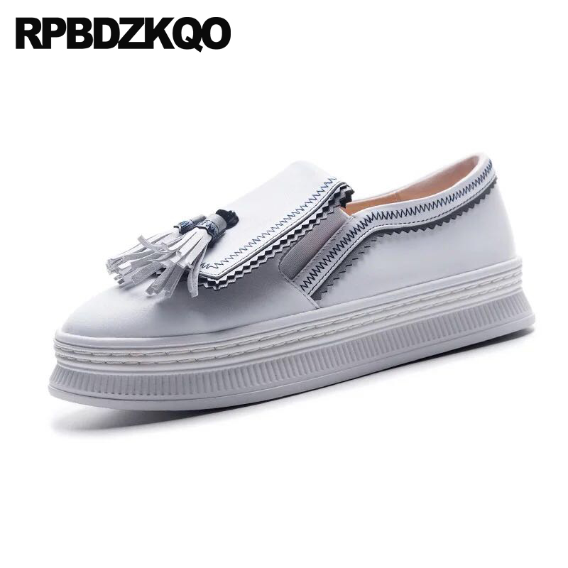 creepers platform shoes sneakers large size genuine leather women elevator fashion trainers muffin thick sole tassel white 10creepers platform shoes sneakers large size genuine leather women elevator fashion trainers muffin thick sole tassel white 10