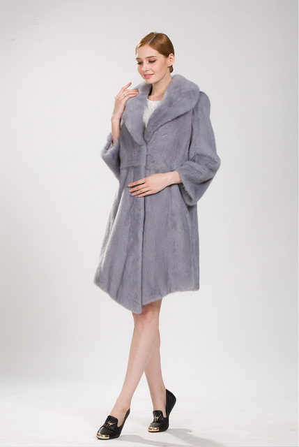 7cbe77ab0d2 real natural mink fur coat with turn down collar and light blue color new  mink