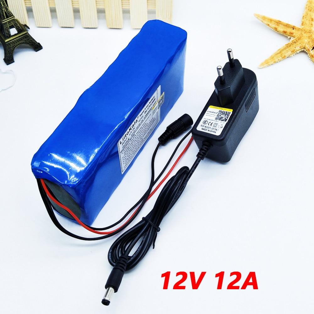 Liitokala 12 v 12ah batterie pack caméra caméra batterie au lithium ion chargeur recargable El, BMS bicicleta El ctrica de et chargeur