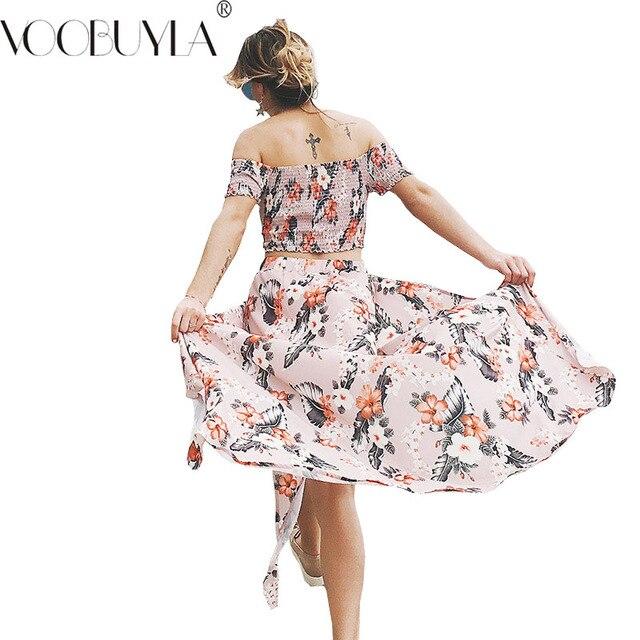 fe65c3d24a1d1 Voobuyla Casual Women Two Piece Set 2018 Summer Floral Clothing Off  Shoulder Crop Tops   Party Beach Split Maxi Long Skirt Set