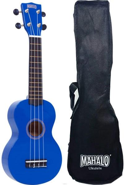 Mahalo MR1BU Укулеле сопрано с чехлом, струны Aquila, цвет синий, серия Rainbow