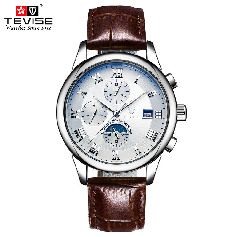 TEVISE Automatic Mechanical Watch Auto Date Week Day Moon Phase Wristwatches Leather Skeleton Male Watches Montres Homme 9008 angie st7194 fearless series male auto mechanical watch