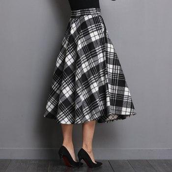 Neophil England Style Red Plaid High Waist Midi Skirts Woolen Plus Size 3XL A Line Pleated 2019 Winter Women Tartan Skirts S1735 4