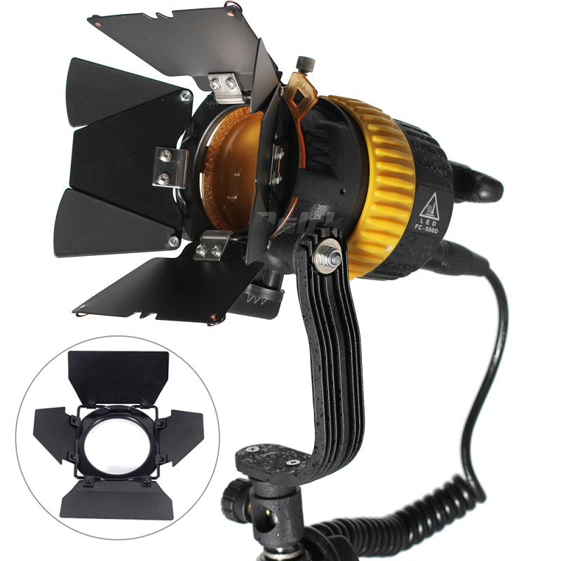 Portable High CRI 50W Bi-color LED Spotlight for Camera Video Continuous Light Dimmable with a Hole to instal reflector umbrella new bi color 4ft 4 bank led kinoflo 3200k 5600k dimmable daylight with ballast for film lighting high cri for broadcasting