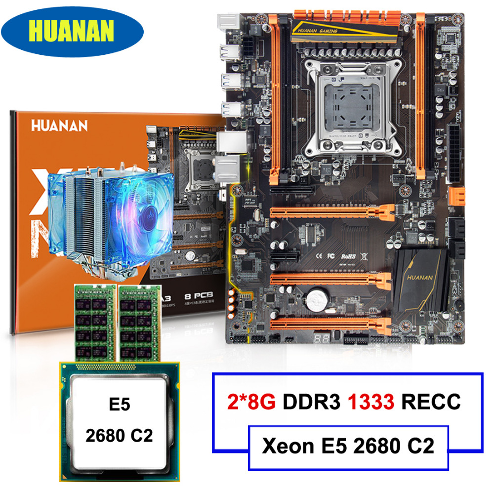 Brand motherboard HUANAN ZHI deluxe X79 motherboard with M.2 NVMe CPU Xeon E5 2680 C2 2.7GHz with cooler RAM 16G(2*8G) REG ECC