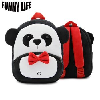 7ff929125ec2 Милый мультфильм панда плюшевый рюкзак 26*24*10 см унисекс Студенческая  сумка Детский сад Детская сумка Микки Маус hello kitty