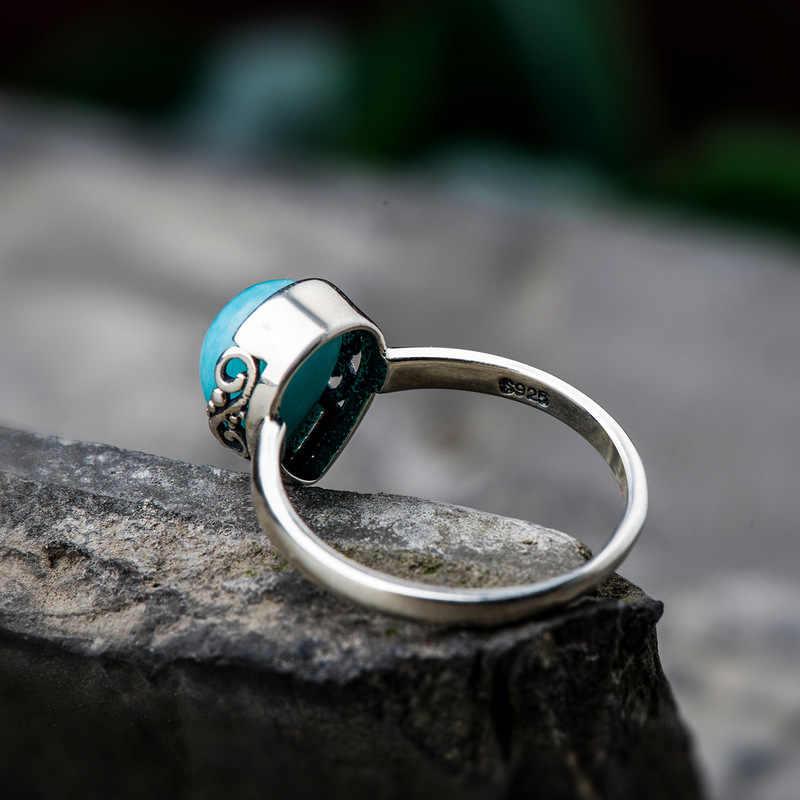 เงินแท้ 925 ออกแบบแหวนเครื่องประดับ Water Drop เทอร์คอยส์แหวนหินธรรมชาติเครื่องประดับ