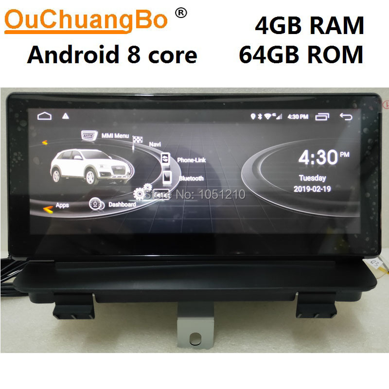 Ouchuangbo Android 9.0 media player de rádio de carro gravador para Q3 2013-2018 com gps de navegação multimídia 8.8 polegada 4GB + 64GB