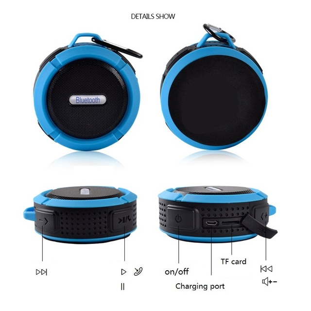 Mini Bluetooth Speaker Waterproof Portable Subwoofer Support SD TF Card MP3 Player Metal Hook for Outdoor Sport Riding 5W