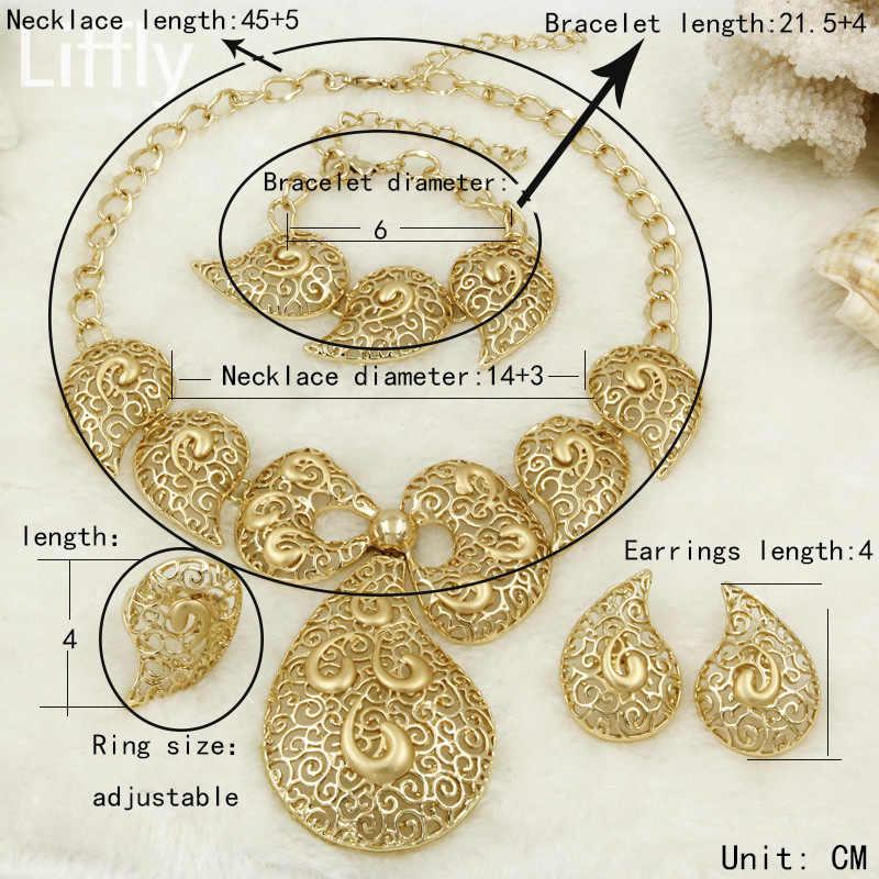 Liffly Dubai Gold Schmuck Sets für Frauen Braut Schmuck Schmetterling Halskette Ohrringe Mode Hochzeit Brautjungfer Schmuck Sets