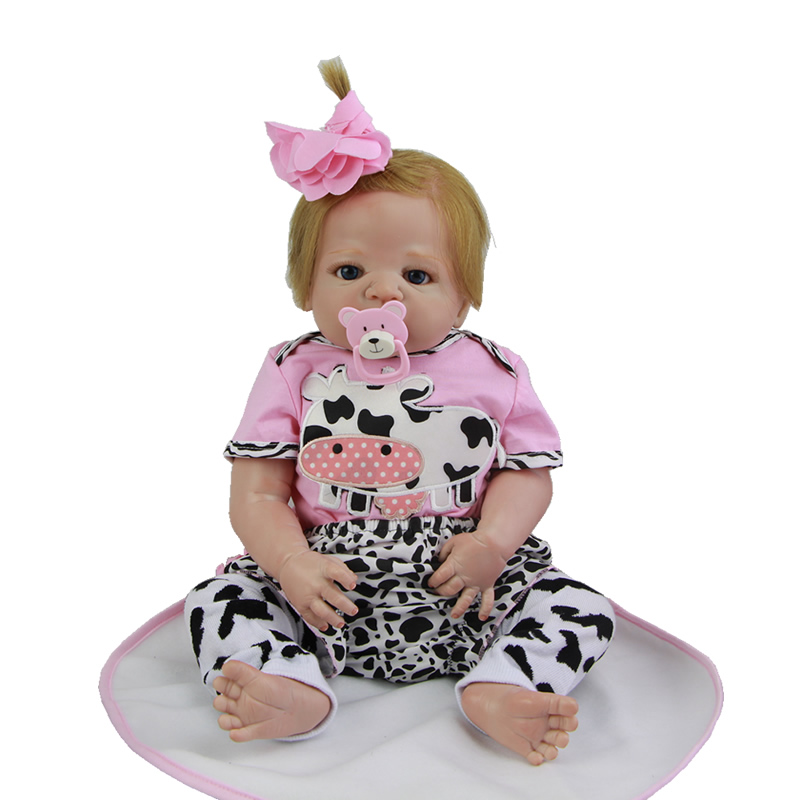 New Style 23 Inch Reborn Baby Doll Handmade Newborn Girl Toy With Rooted Real Human Hair Full Silicone Vinyl Dolls Kids Playmate new arrived 55 60cm silicone reborn baby dolls fridolin sweet girl real gentle touch rooted human hair with pink dress newyear