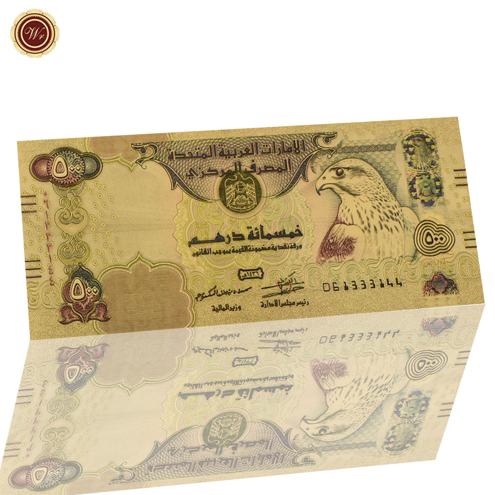 WR the United Arab Emirates Colored Five Hundred Gold Plated Banknote UAE 100 Dirham Golden Crafts for Business Souvenir Стёганое полотно