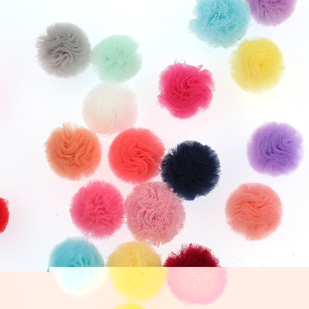 Craft pom poms in bulk - 60pcs Bulk 25mm Tulle Pom Pom For Diy Handmade Hair Accessories Baby Kids Girls Cotton Candy Tulle Tutu Sweet Shoppe Candy Party