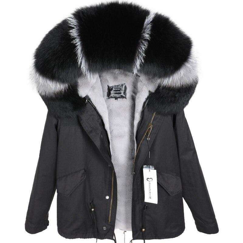 2018 размера плюс зимняя женская куртка с натуральным мехом, короткая куртка с воротником из натурального меха енота, парка с подкладкой из кр... - 2