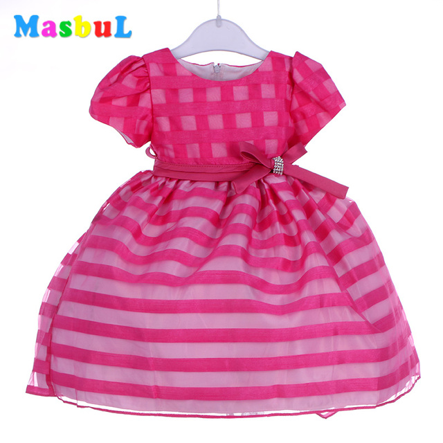 aee325719d MasbuL 2016 new stylish hot sale girl dress pink striped short sleeves  voile summer kids dresses for 2-6 ages girls wholesale