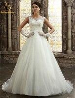 Bealegantom White A Line Organza Wedding Dresses 2017 Beaded Appliques Plus Size Bridal Gowns Vestido De