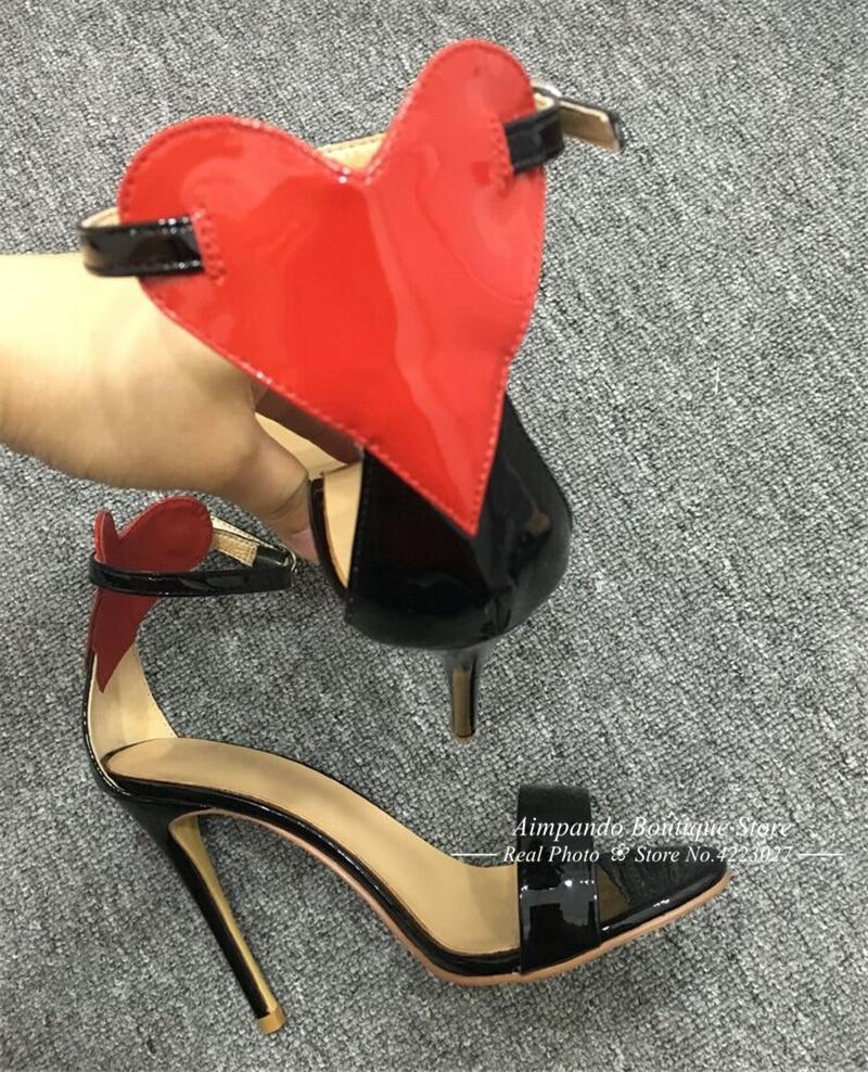 Delgada Sandalias Black Red Correa Mujeres Gladiador Verano Cuero Corazón Una A Rojo Tacones De FAwxq