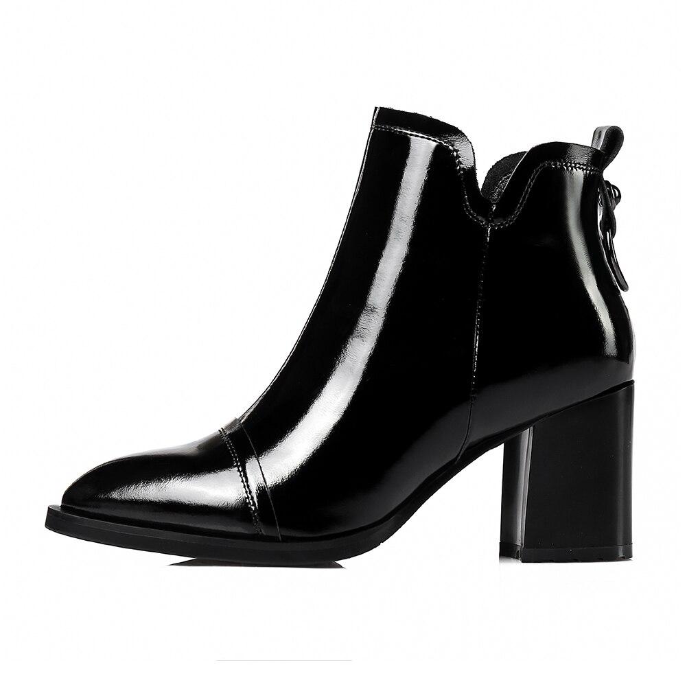 Véritable 2018 34 Taille Cheville Grande Cuir Pointu Bout Doratasia Zip Carré Up Femme Haute En Noir Talons Chaussures Bottes 42 AxYqYw