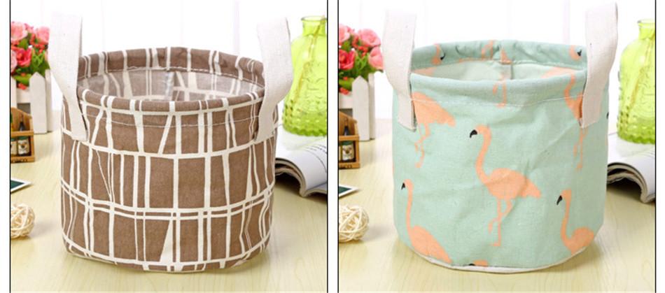 Cute Printing Cotton Linen Desktop Round Storage Organizer Sundries Box Cabinet Underwear Jewelry Cosmetic Stationery Basket (4)