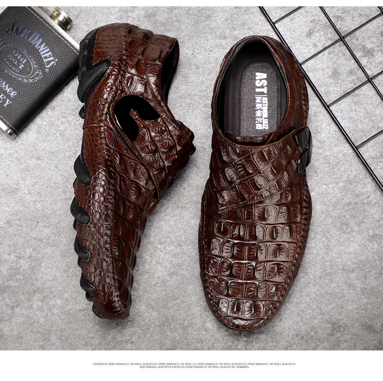Men's Leather Casual Shoes Men Loafer Crocodile Genuine Leathers Moccasins Men Loafers Leather Casual Boat Shoes Octopus Sole (2)