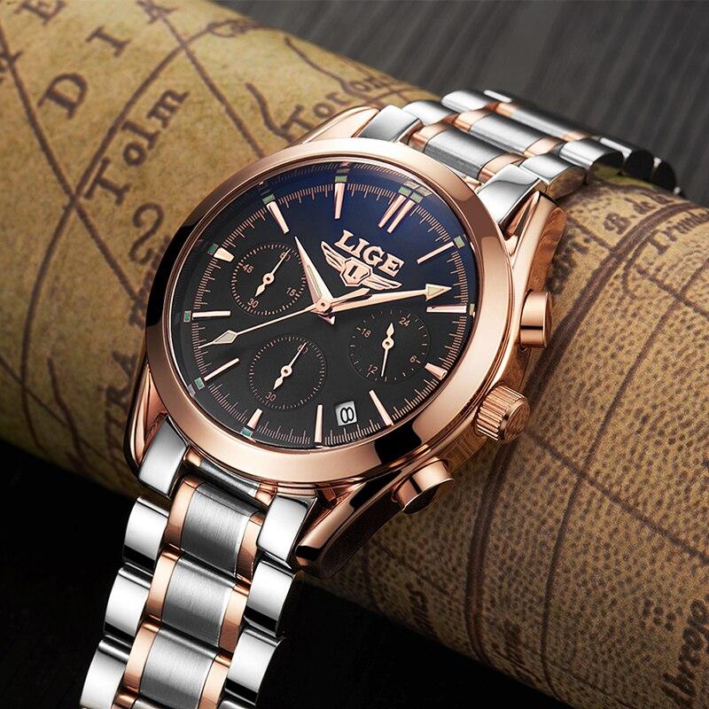 LIGE hommes montres Top marque de luxe hommes militaire étanche sport montre hommes affaires Quartz montre-bracelet Relogio Masculino + boîte