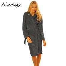 Brand New Women Nightwear Robes Long Coral Fleece Night-robe Sleepwear Winter Warm Bathrobe Female 5 Colors