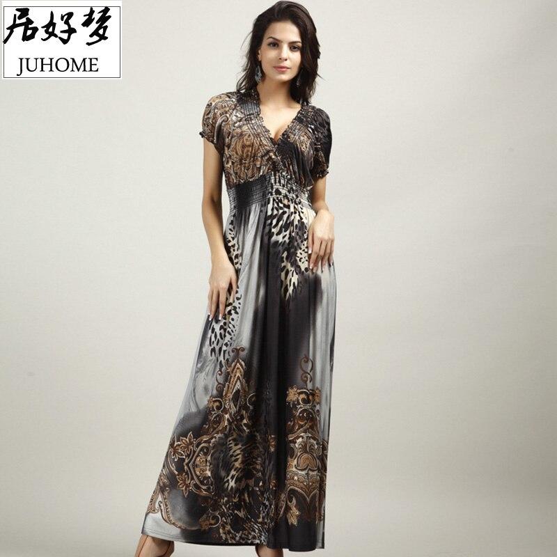 plus size Maxi Dresses Women's Large Size Summer Beach tunic V Neck Milk Silk Bohemian Female Casual Long Slim Elastic vestidos 1