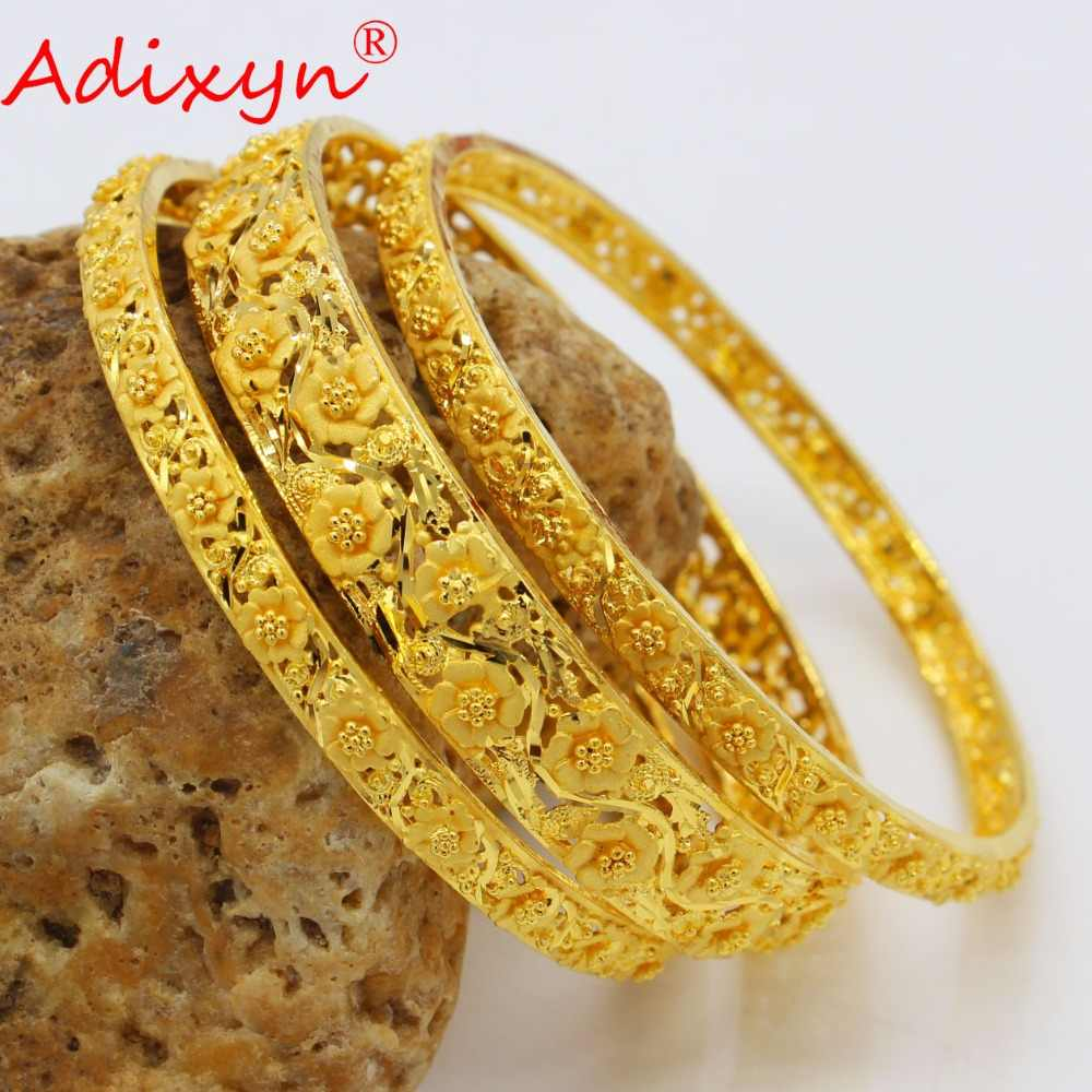 Adixyn 3PCS Dubai Gold Bangles For Women Gold Color Bangles&Bracelets Ethiopian/Arab/Middle East Party Gifts N04181