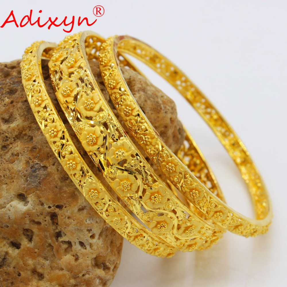 Adixyn 3PCS Dubai Gold Bangles For Women Gold Color Bangles&Bracelets Ethiopian/Arab/Middle East Party Gifts N04181 adixyn dubai gold bangles fashion jewelry for women men gold color bangles bracelets african india middle east items free box