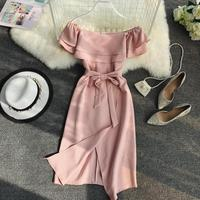 Women Pure Color Slash Neck Thin Irregular High Waist Elegant Dress Lady Vestidos De Fiesta D540
