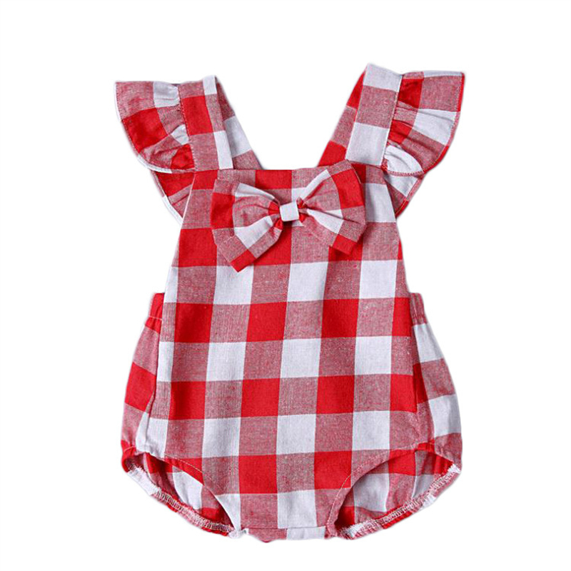 2018 New Summer Baby   Romper   Girl clothes Plaid White Red Baby   Romper   Outfits Sunsuit 0-24M Newborn baby Girl cloth