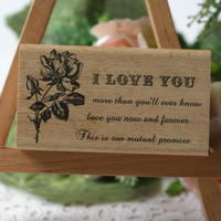 High quality i love you rose stempel diy postcard or bookmark scrapbooking stamp,beatiful wooden rubber stamps carimbo