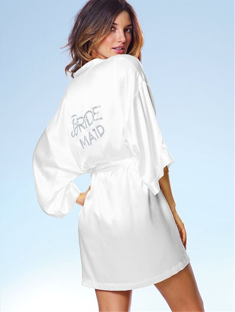 Blanco Novia de dama de Honor de Seda Robe, bonita Bata para mujeres pijamas albornoz, Noiva Nupcial Batas