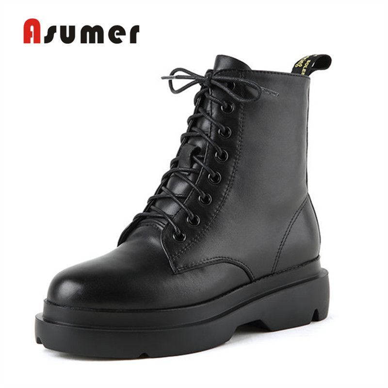 ASUMER 2018 new hot sale women autumn black boots simple round toe ankle boots unique popular classic genuine leather boots цена 2017