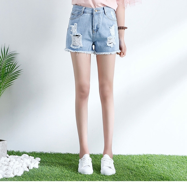 H Tron Jeans Woman Summer Sexy Hot Shorts Ripped Denim Shorts Cute College  Girl 2018 Women Clothes Korean Style Blue Cheap 48dff6171