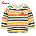 Kids T-shirt Boys 2017 New Spring Casual Colorful Striped T Shirt Kids Long Sleeve Simple Kids Clothes Girls 4623W