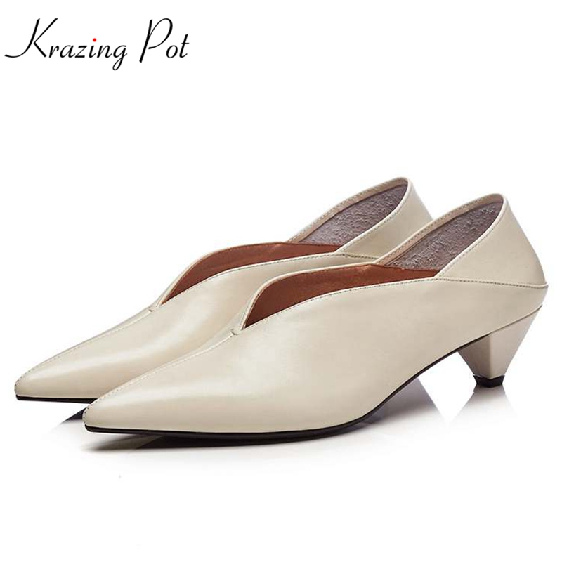Krazing Pot full grain leather shoes women fashion med heels pumps slip on pointed toe European elegant office lady pumps L23 krazing pot sheep suede summer elastic band thin med heels beading pointed toe slip on women sexy office lady pumps shoes l96