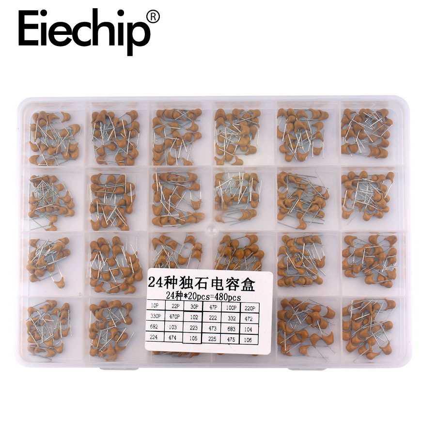 480pcs Monolithic Ceramic Capacitor Assortment Kit 10pF-10uF Monolithic Capacitor Set 0.1uF 0.22uF 0.47uF 2.2uF 4.7uF Capacitor