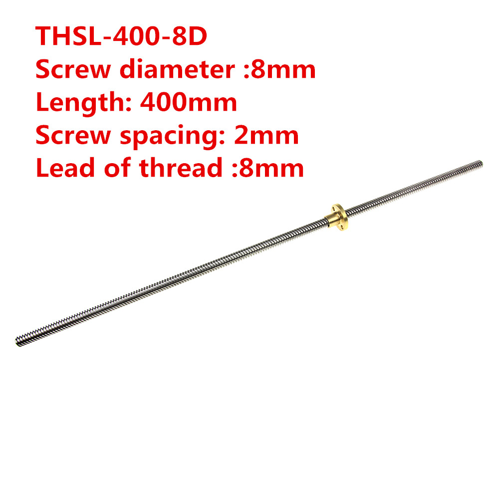 3D Printer THSL-400-8D T-type Stepper Motor Lead Screw Dia 8MM Thread 8mm Length 400mm with Copper Nut nema23 linear stepper w 310mm tr10 4 lead screw for 3d printer desktop straight screw motor