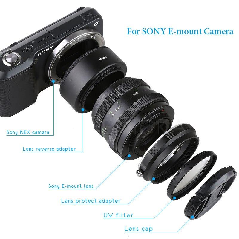 De Metal lente de cámara inversa adaptador proteger Kit Macro tubo de extensión para Sony A6000 A6300 A6500 A5100 ILCE-5000 A7 A7R II A7S NEX7