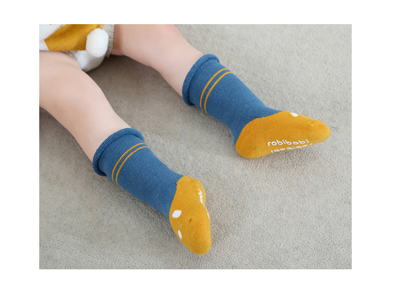 0-2Y Winter Baby Girl Boy Cotton Warm Thickness Knee Socks Children Kids Terry Loose Top Anti-slip Middle Tube Sox 3pairs/Lot 12
