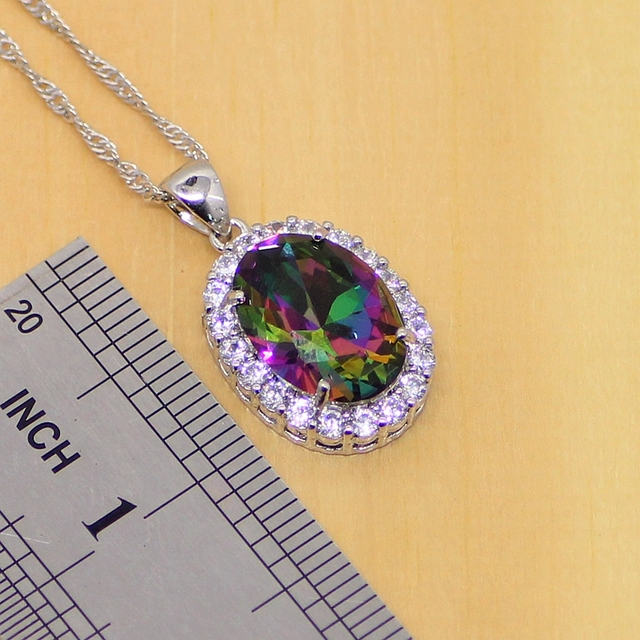 Mystic Rainbow Fire Cubic Zirconia Jewelry Sets 925 Sterling Silver Jewelry Women Earrings/Pendant/Necklace/Rings/Bracelet T201