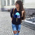 2016 Hoodies Marca Camisola Das Mulheres do Sexo Feminino de Pelúcia Bola Ice Cream Impresso Harajuku Streetwear Sudaderas Mujer Felpe