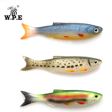 цена W.P.E Soft Lure 1pcs 9cm 7g 3D Eyes Soft Bait Silicone Rubber Body Swimbait Shad Crankbait Minnow Worms Wobblers Jig Bass Tackle онлайн в 2017 году