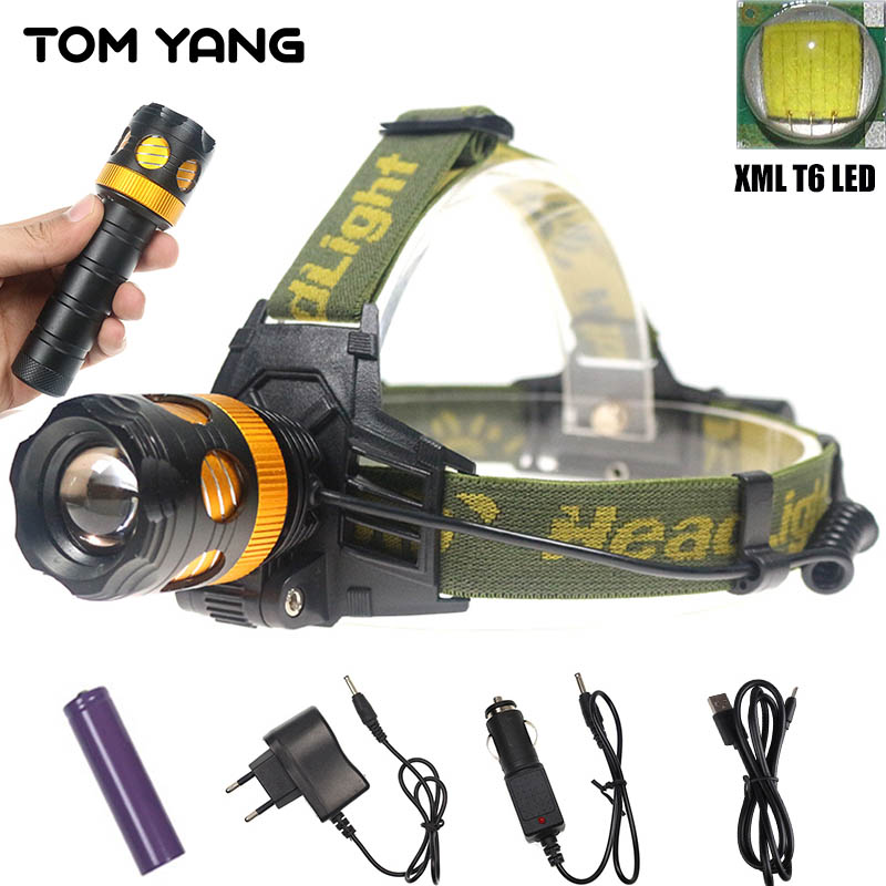 5000LM USB LED Headlight Cree XML T6 Removable Head Lamp +Flashlight Torch 2 in 1 Zoomable Power Light Headlamp Use 18650/3xAAA