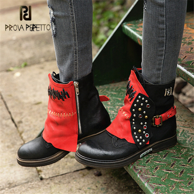 Prova Perfetto Black Women Ankle Boots Platform Flat Botas Mujer Genuine Leather High Boots Rivets Studded Rubber Martin Shoes prova perfetto black ankle boots for women rivets studded flat autumn botas mujer genuine leather platform rubber martin boots