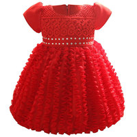 Fashion Summer Newborn Cute Bow Dress Solid Ruched Princess Gown Party Wedding Dress For Newborn With