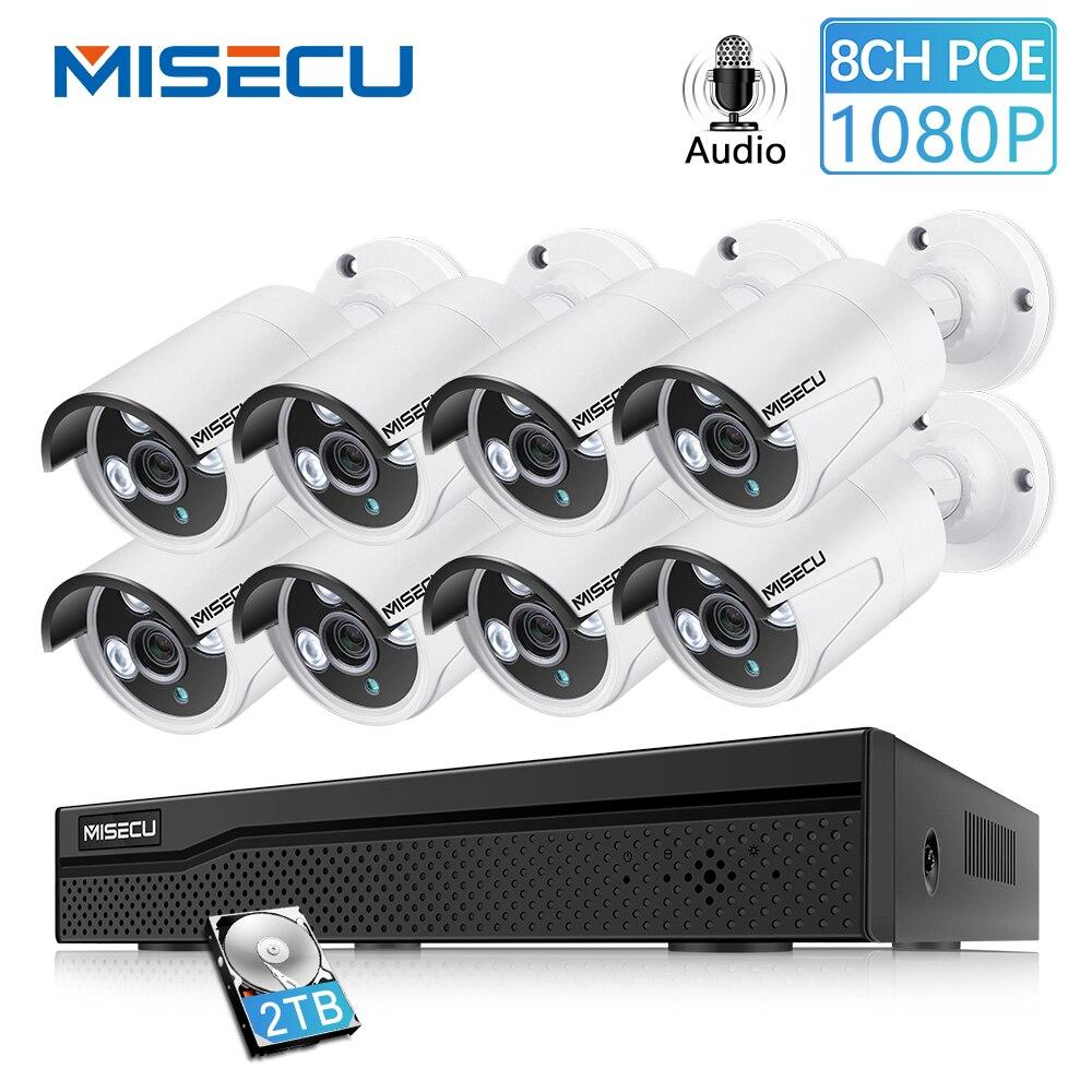 MISECU 8CH Rede IP POE NVR 1080P 2MP Gravação de Áudio Ao Ar Livre À Prova D' Água Câmera de Segurança CCTV Sistema de Vigilância de vídeo Em Casa kit