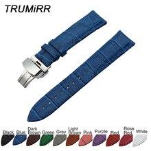 Croco Echtes Leder Armband Schmetterling Schnalle für Omega Männer Frauen Uhr Band Handgelenk Armband 14/1618/19 /20/21/22/23mm